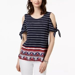 Charter Club Tie-Sleeve Cold-Shoulder Top